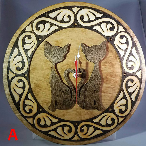 "12"" Twin Cats Clock"