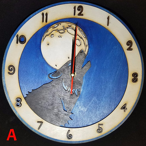 "12"" Howling Wolf Clock"