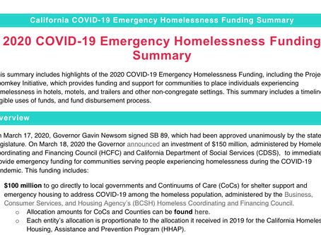 California COVID-19 Emergency Homelessness Funding Summary