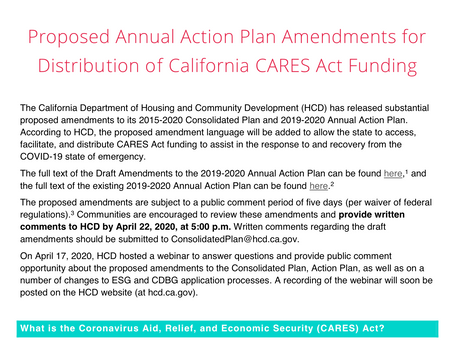 Proposed Annual Action Plan Amendments for Distribution of California CARES Act Funding