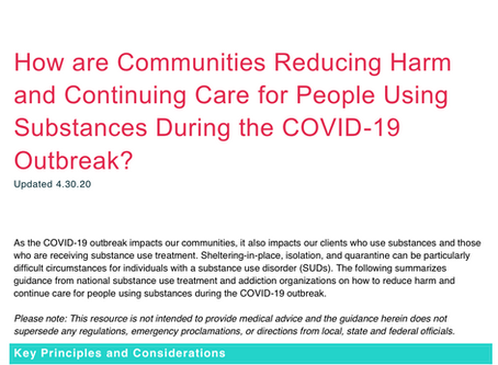 Providing Care and Reducing Harm for Persons Using Substances during COVID-19
