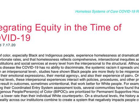 Integrating Equity in the Time of COVID-19