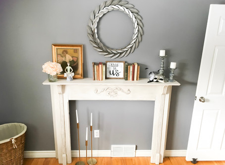 DIY Thrifted Fireplace Mantel Makeover