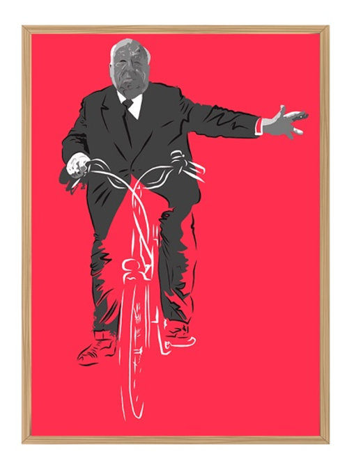 Helmuth Kohl - Alfred Hitchcock bicycling portrait