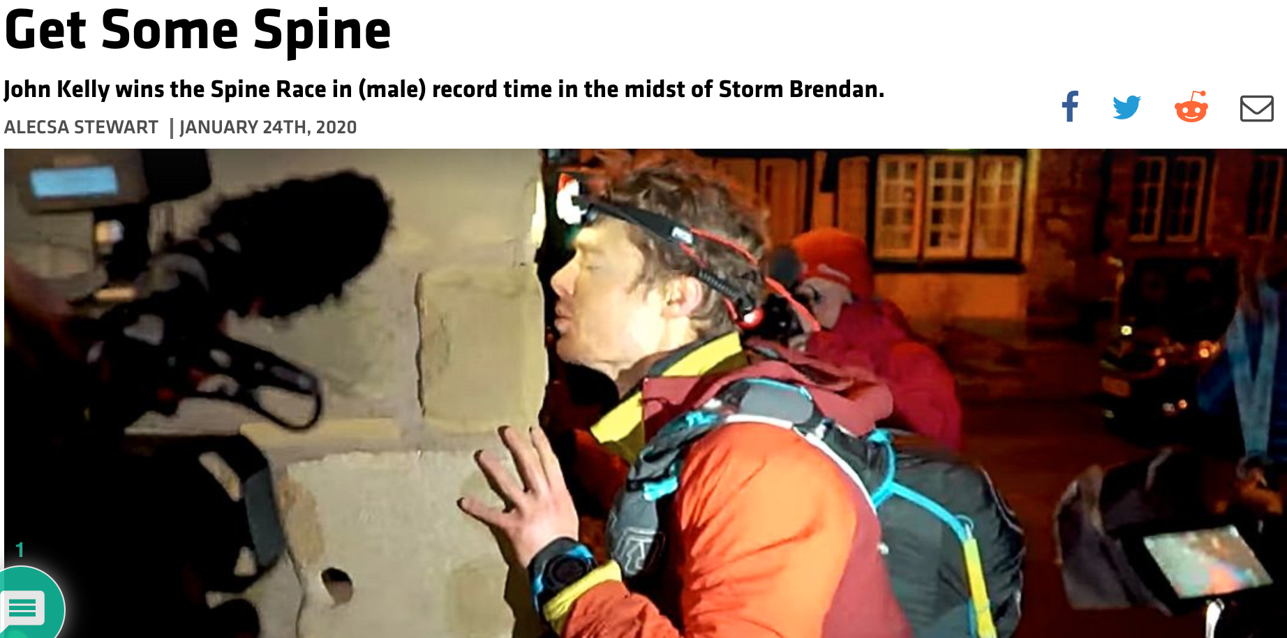Trail Runner Mag News: John Kelly winning the Spine Race 2020