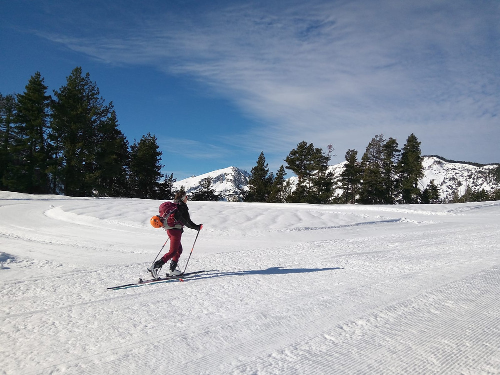 Ski touring on a sunny day