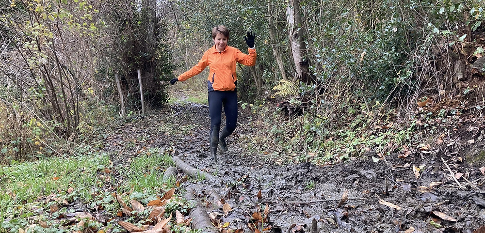 Trail running on muddy trails