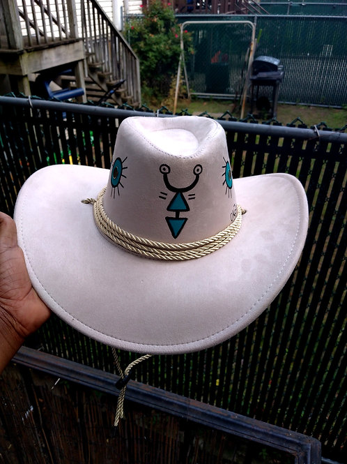 Handpainted Cowbow hat white/One size fit most