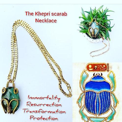Khepri Scarab Brass Labrorite Necklace