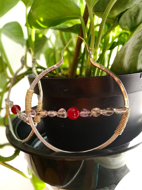 Aluminum gold plated Hoops/Red Jade/Amethyst