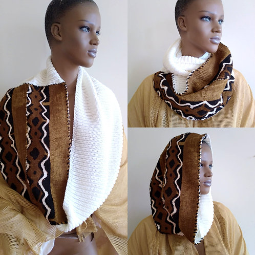 BrownWhite Infinity Afro Scarf