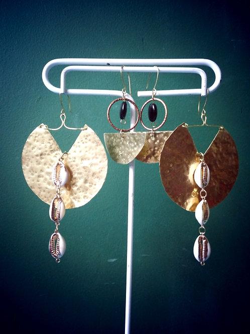 Brass Phoenix Cowrieshells Earrings