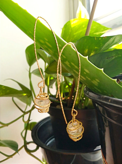 Gold plated brass Clear quartz drop Earrings