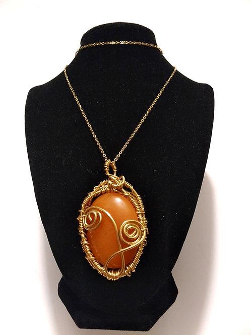 Red Aventurine Necklace/Brass