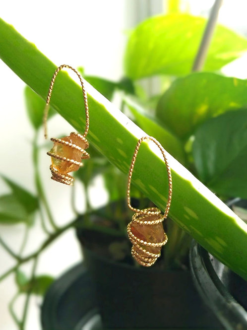 Small Citrine Gold plated Earrings