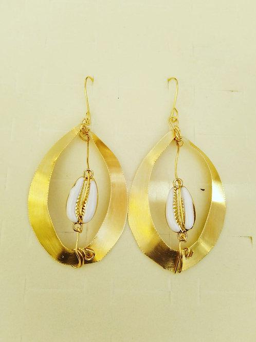 Aza Brass Cowrieshells Earrings