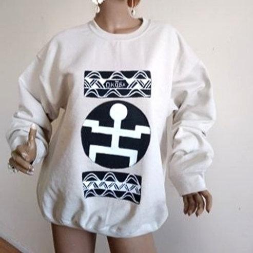 ForThePeople Handpainted Sweatshirt/ Large/Beige Sand