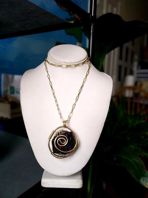 Brass Gold plated Black Tourmaline Necklace