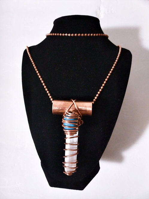 Selenite/Turquoise Copper Cross Necklace