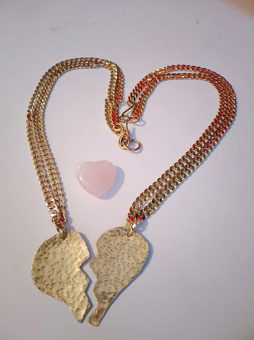 Solid Brass links Half Heart necklaces/ 2 pieces