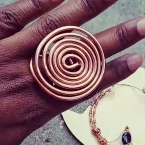 Spiral Copper rings/Unisex