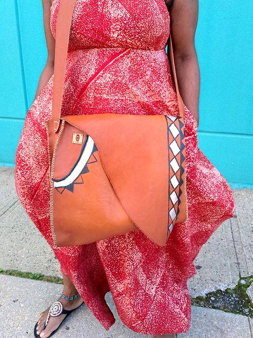 Handpainted Cross body Leather Bag