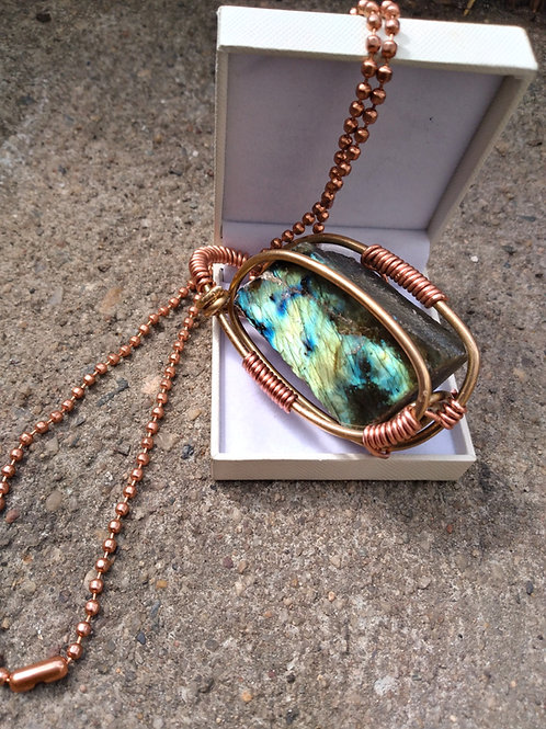 Labradorite Necklace -Brass/Copper