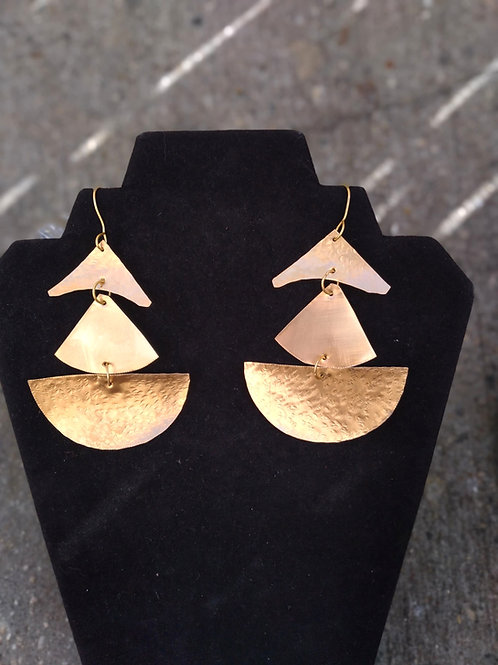Christmas tree Brass Earrings