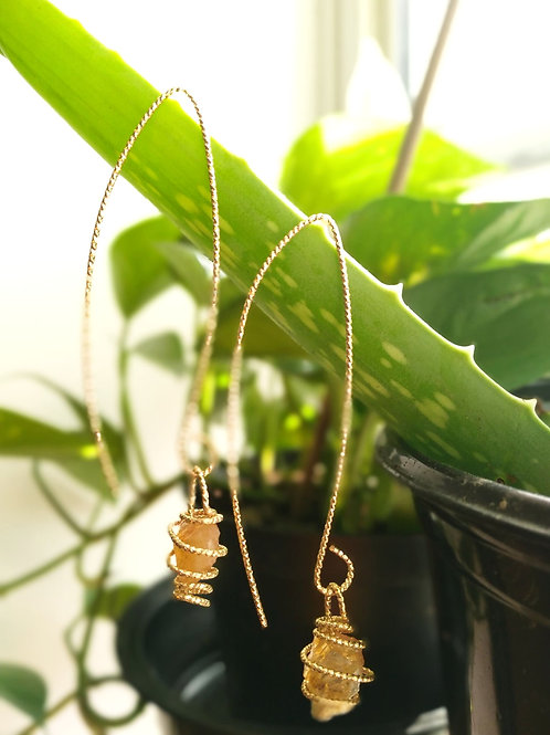 Long Gold plated Citrine drops Earrings