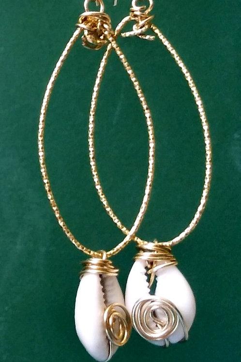 Brass Cowrieshells drops Earrings