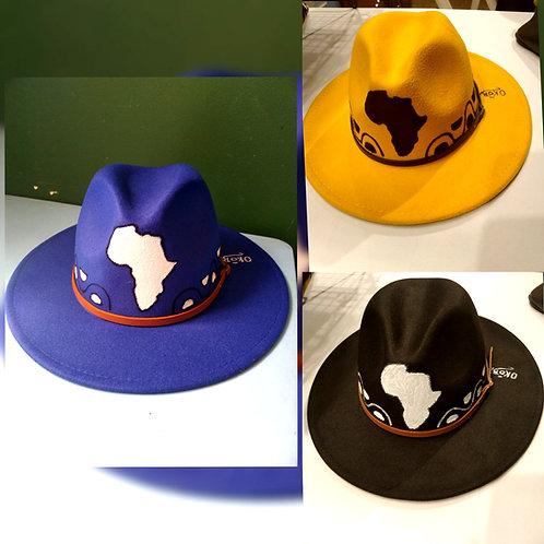 Handpainted Africa Fedora brim hat/Unisex/ Yellow