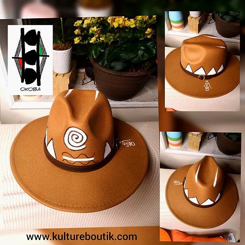Handpainted Fedora hat, Spiral/Brown