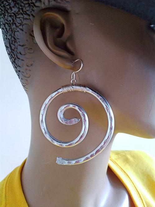 Medium Spiral Aluminum Earrings