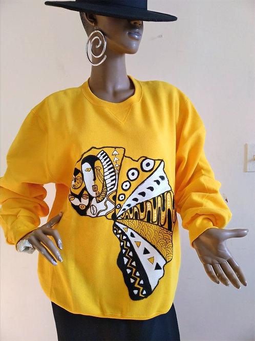 Unisex Handpainted Sweatshirt/Africa Yellow/Large