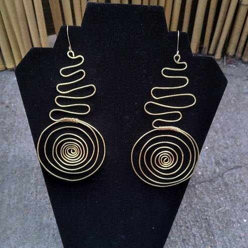 Brass Spiral drop Earrings