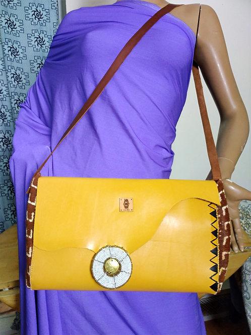 Yellow Leather/Mudcloth hand/crossbody bag
