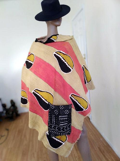 Mudcloth Poncho (Pink Yellow/Black)Cowrieshells