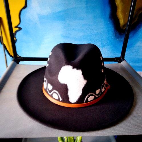 Handpainted Africa Fedora Brim hat/Unisex/Black