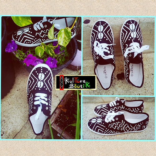 Handpainted sneakers, white spirit