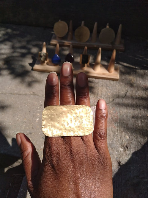 Cleopatra Rectangle Hammered Brass Ring