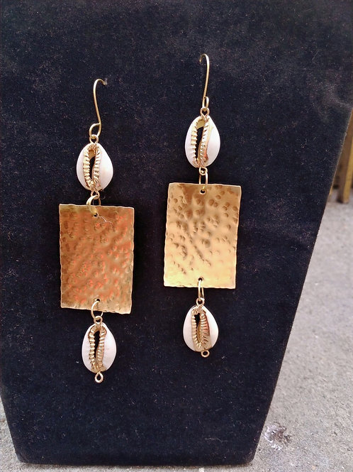 Big square Cowrieshells Brass Earrings
