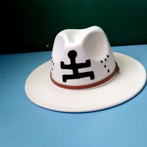 ForThePeople Handpainted Fedora hats/White /Unisex