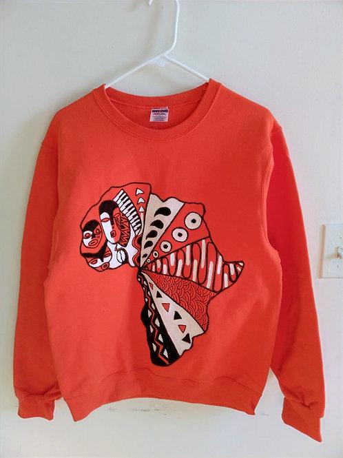 Unisex Handpainted Sweatshirts/Orange/Medium