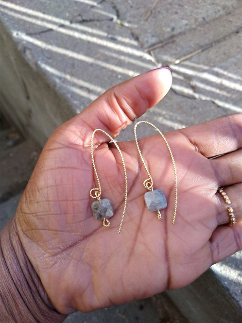 Gold Plated Labradorite Earrings drops/The Transformation stone