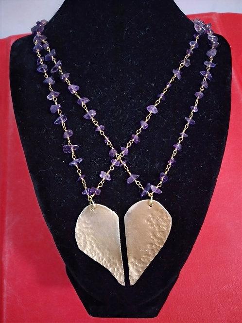 Amethyst link Brass Half heart Necklaces/ 2 pieces