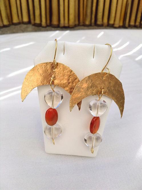 Carnelian/Clear Quartz Earrings