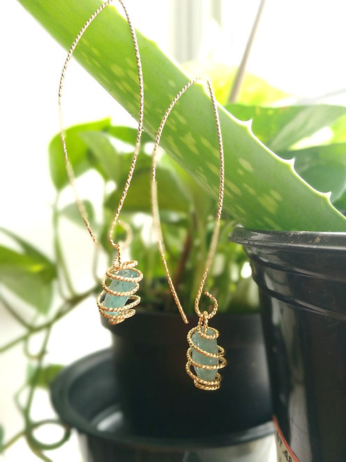 Blue Apalite drops Gold plated Earrings