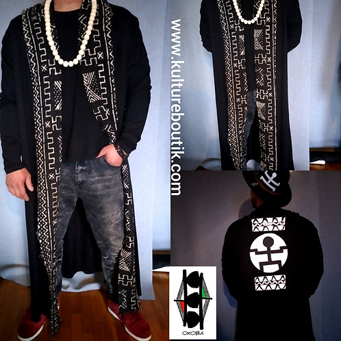 Light weight long cardigan adorned with Mudcloth/ Large