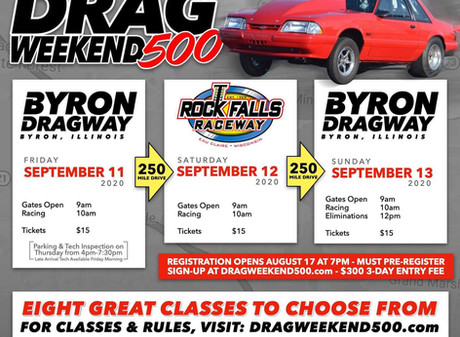 Byron Dragway and Rock Falls Raceway Co-Host 1st Annual Drag Weekend 500 on September 11-13
