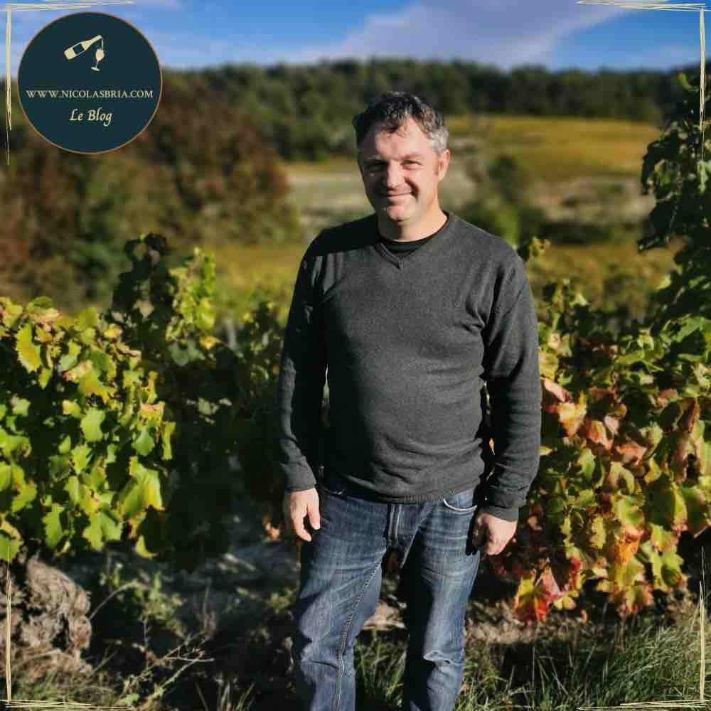 Portrait de du vigneron. Debout au milieu de ses vignes